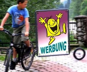 Fahrradwerbung Werbeanhänger